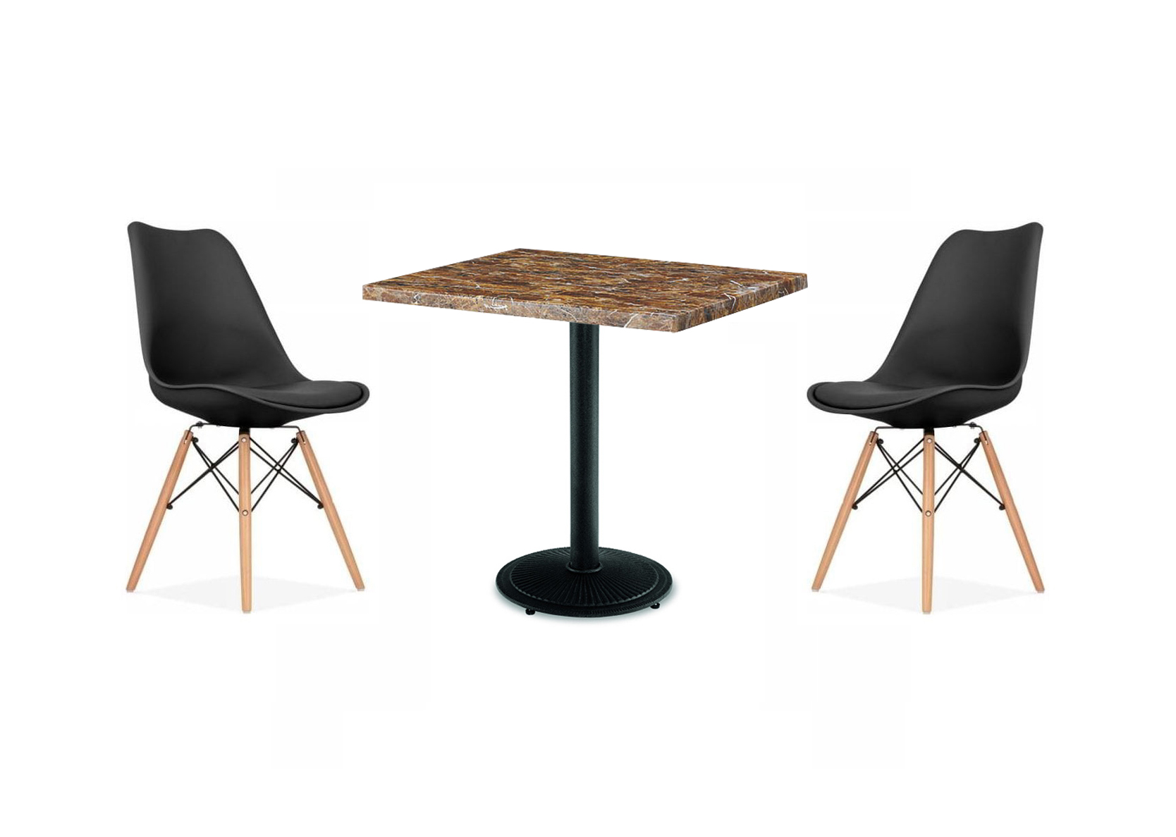 Mufton Gold Round Marble Table Poni Black Rounded Leg With 2 Softoon Dining Chair Black Modern Office Furnitures
